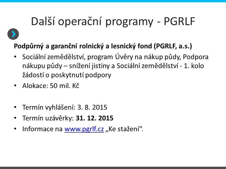Další operační programy - PGRLF Podpůrný a garanční rolnický a lesnický fond (PGRLF, a.s.) Sociální zemědělství, program Úvěry na nákup půdy, Podpora