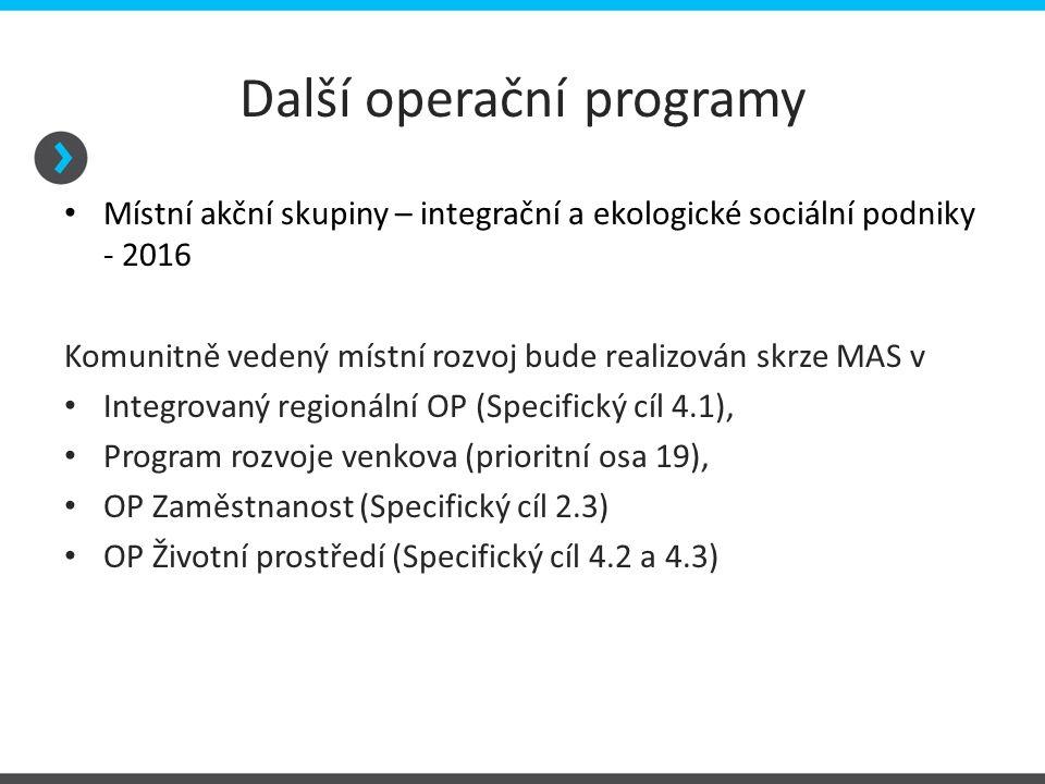 Další operační programy Místní akční skupiny – integrační a ekologické sociální podniky - 2016 Komunitně vedený místní rozvoj bude realizován skrze MA