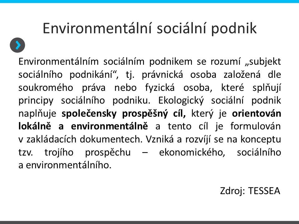 """Environmentální sociální podnik Environmentálním sociálním podnikem se rozumí """"subjekt sociálního podnikání"""", tj. právnická osoba založená dle soukrom"""