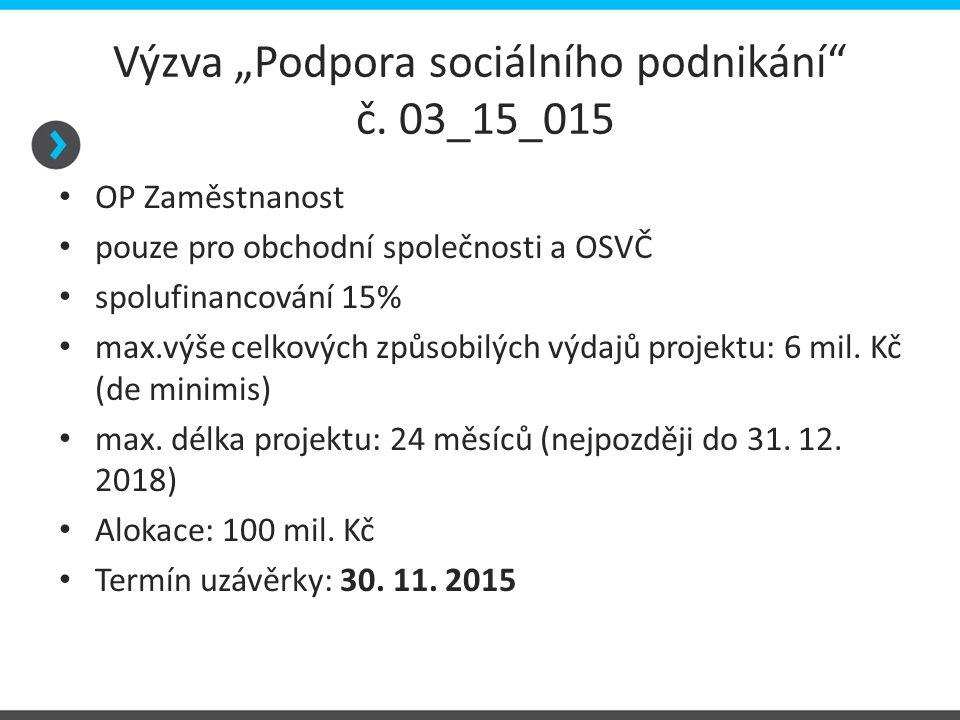 """Výzva """"Podpora sociálního podnikání"""" č. 03_15_015 OP Zaměstnanost pouze pro obchodní společnosti a OSVČ spolufinancování 15% max.výše celkových způsob"""