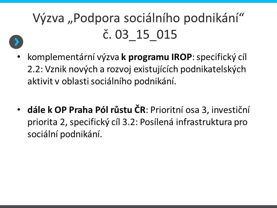"""Výzva """"Podpora sociálního podnikání"""" č. 03_15_015 komplementární výzva k programu IROP: specifický cíl 2.2: Vznik nových a rozvoj existujících podnika"""
