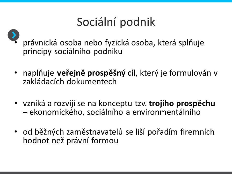 Sociální podnik právnická osoba nebo fyzická osoba, která splňuje principy sociálního podniku naplňuje veřejně prospěšný cíl, který je formulován v za