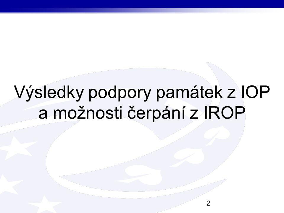 Výsledky podpory památek z IOP a možnosti čerpání z IROP 2