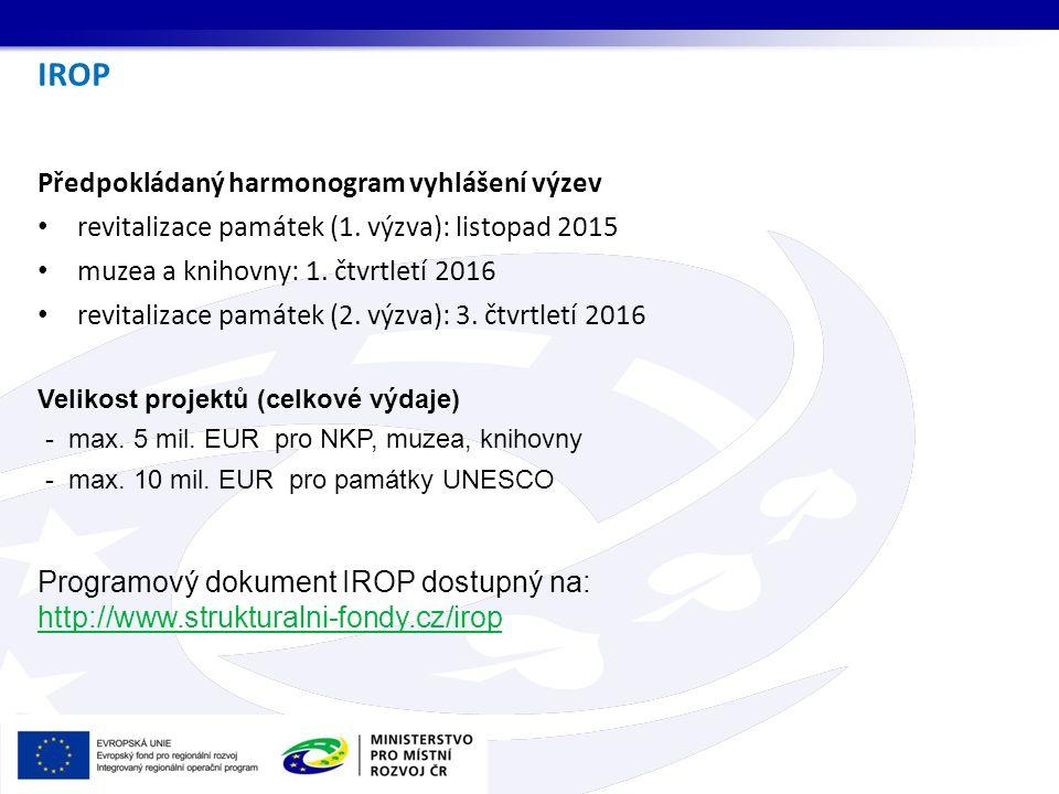 IROP Předpokládaný harmonogram vyhlášení výzev revitalizace památek (1. výzva): listopad 2015 muzea a knihovny: 1. čtvrtletí 2016 revitalizace památek