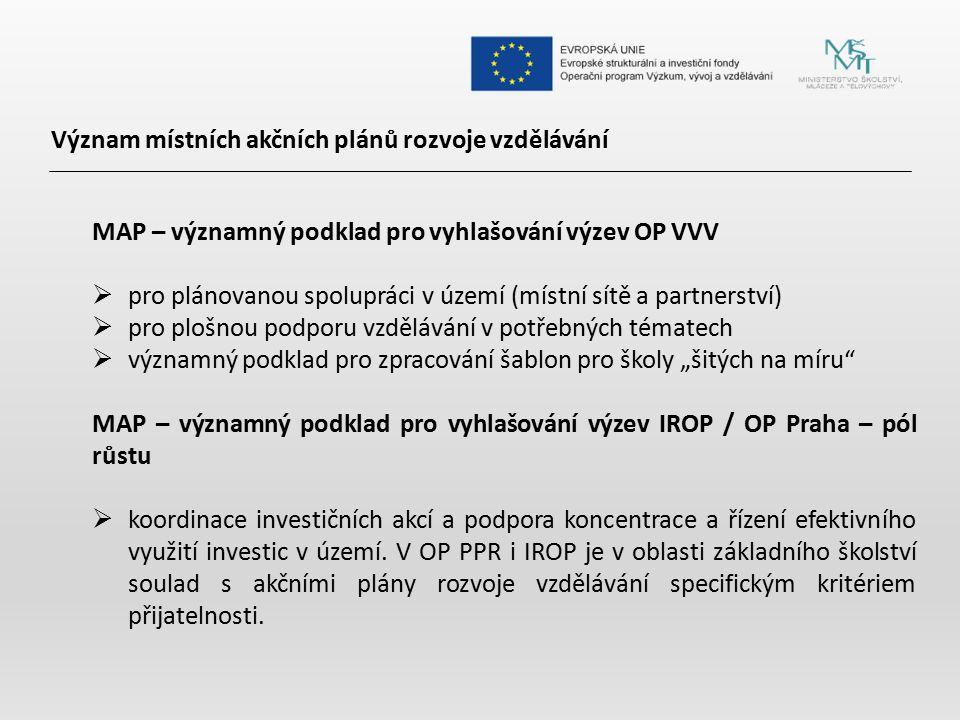 Význam místních akčních plánů rozvoje vzdělávání MAP – významný podklad pro vyhlašování výzev OP VVV  pro plánovanou spolupráci v území (místní sítě