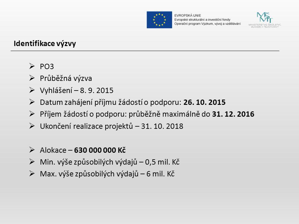 Identifikace výzvy  PO3  Průběžná výzva  Vyhlášení – 8. 9. 2015  Datum zahájení příjmu žádostí o podporu: 26. 10. 2015  Příjem žádostí o podporu: