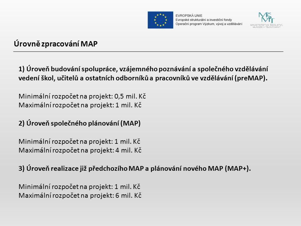 Úrovně zpracování MAP 1) Úroveň budování spolupráce, vzájemného poznávání a společného vzdělávání vedení škol, učitelů a ostatních odborníků a pracovn
