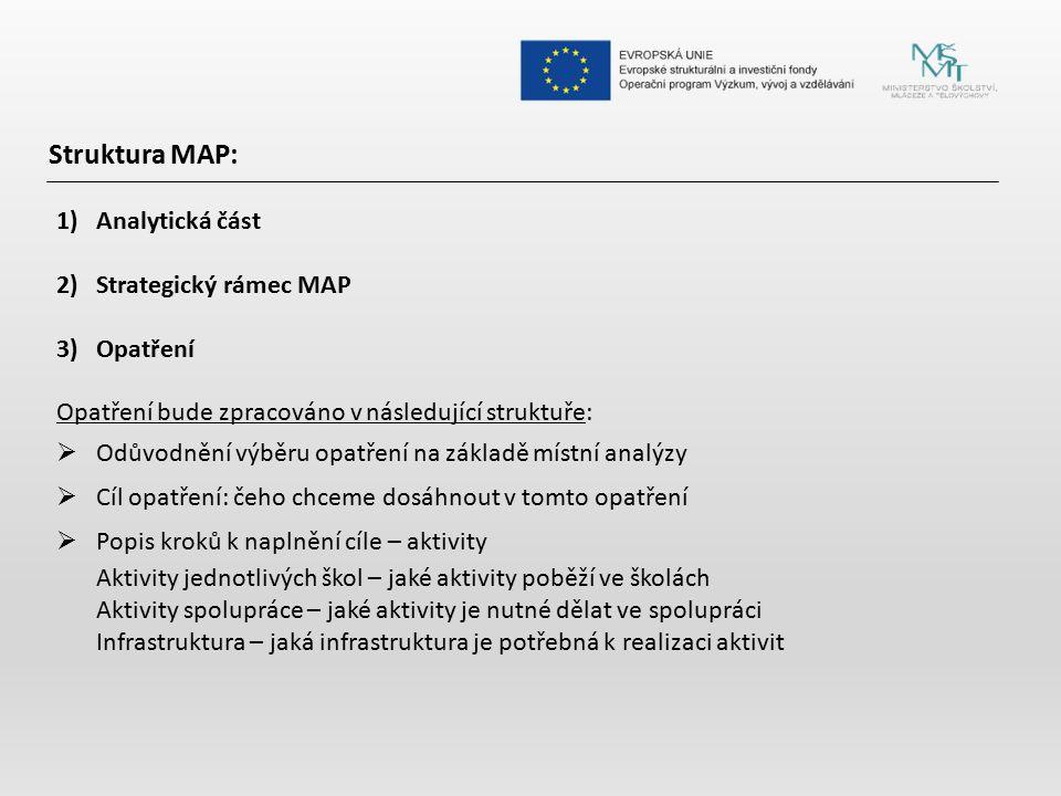 Struktura MAP: 1)Analytická část 2)Strategický rámec MAP 3)Opatření Opatření bude zpracováno v následující struktuře:  Odůvodnění výběru opatření na