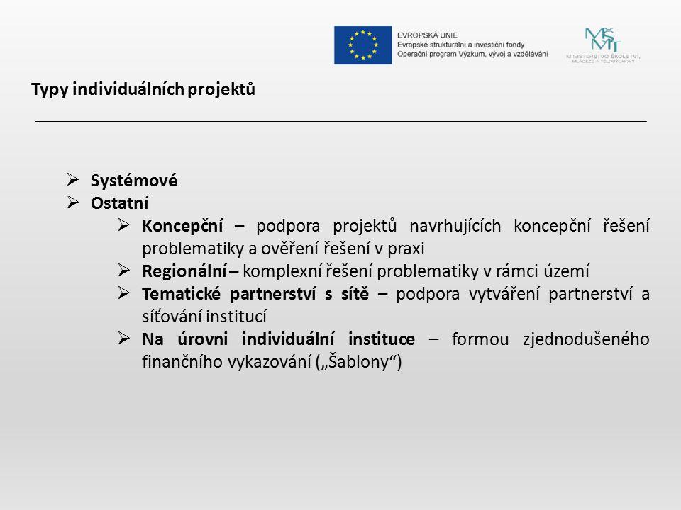 Typy individuálních projektů  Systémové  Ostatní  Koncepční – podpora projektů navrhujících koncepční řešení problematiky a ověření řešení v praxi