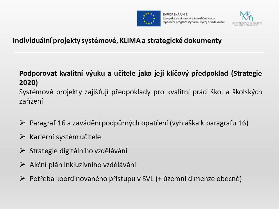 Individuální projekty systémové, KLIMA a strategické dokumenty Podporovat kvalitní výuku a učitele jako její klíčový předpoklad (Strategie 2020) Systé