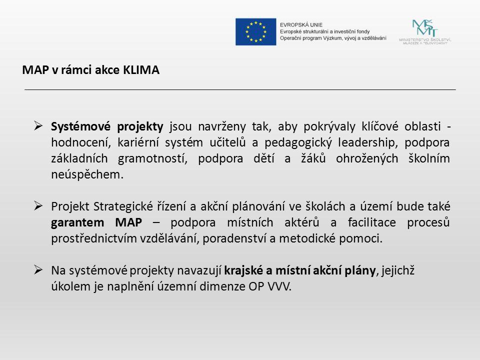 MAP v rámci akce KLIMA  Systémové projekty jsou navrženy tak, aby pokrývaly klíčové oblasti - hodnocení, kariérní systém učitelů a pedagogický leader