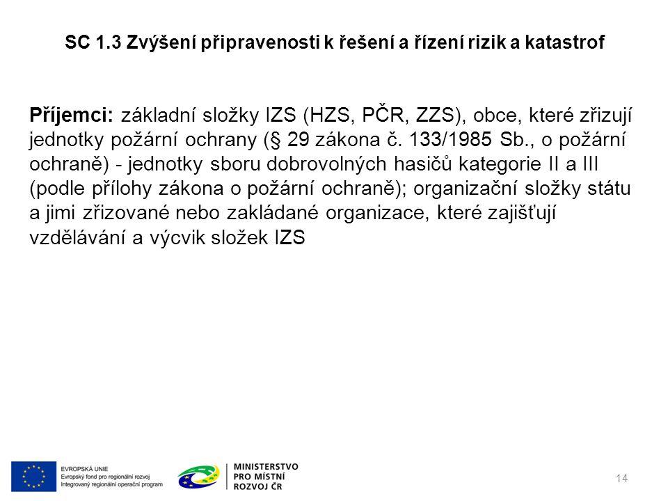 Příjemci: základní složky IZS (HZS, PČR, ZZS), obce, které zřizují jednotky požární ochrany (§ 29 zákona č. 133/1985 Sb., o požární ochraně) - jednotk
