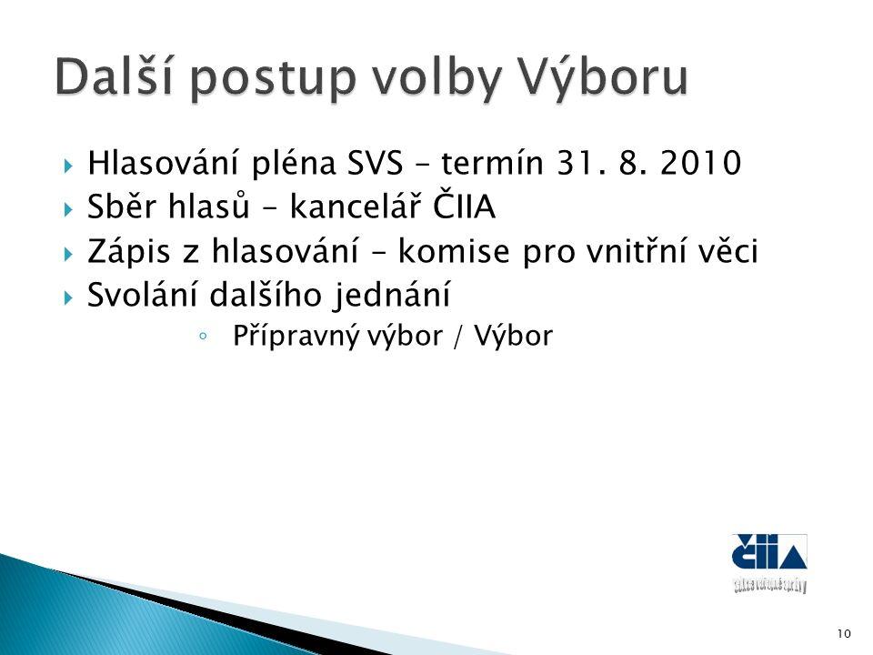  Hlasování pléna SVS – termín 31.8.