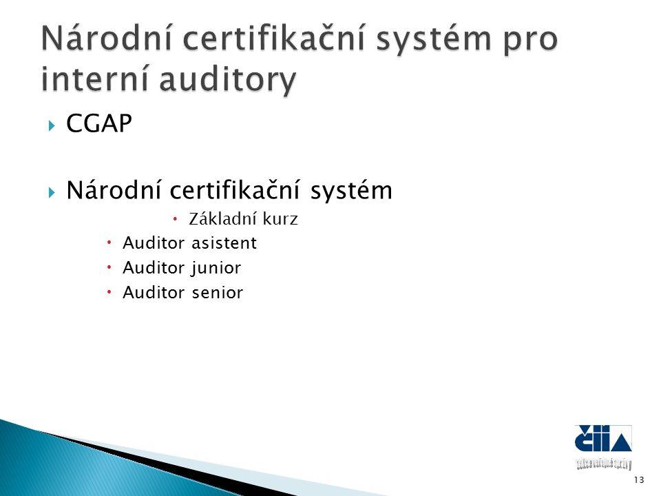  CGAP  Národní certifikační systém  Základní kurz  Auditor asistent  Auditor junior  Auditor senior 13