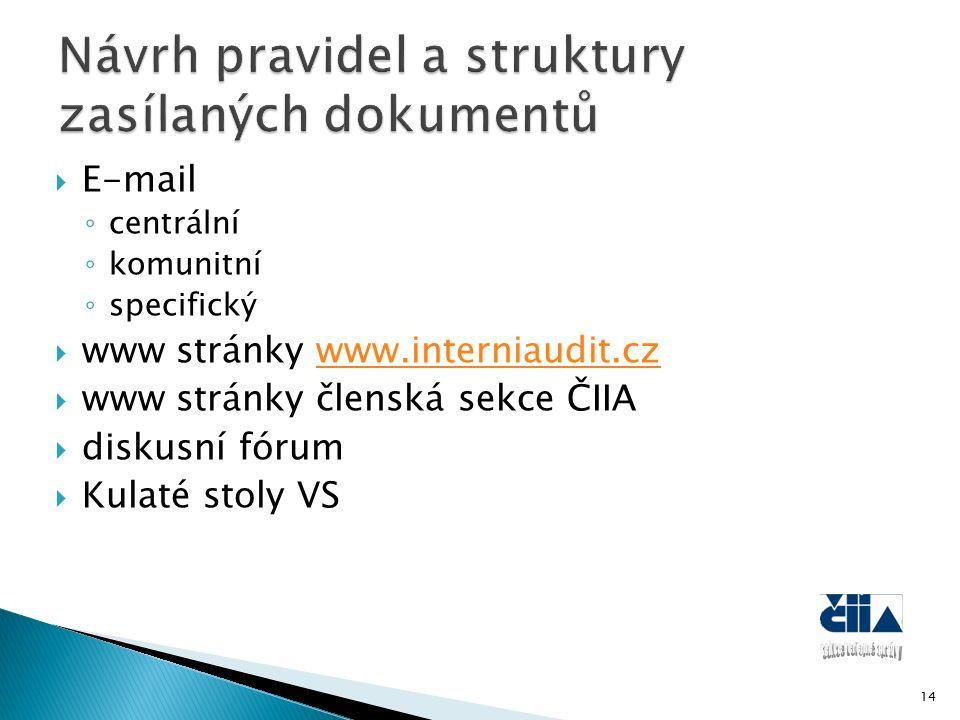  E-mail ◦ centrální ◦ komunitní ◦ specifický  www stránky www.interniaudit.czwww.interniaudit.cz  www stránky členská sekce ČIIA  diskusní fórum  Kulaté stoly VS 14