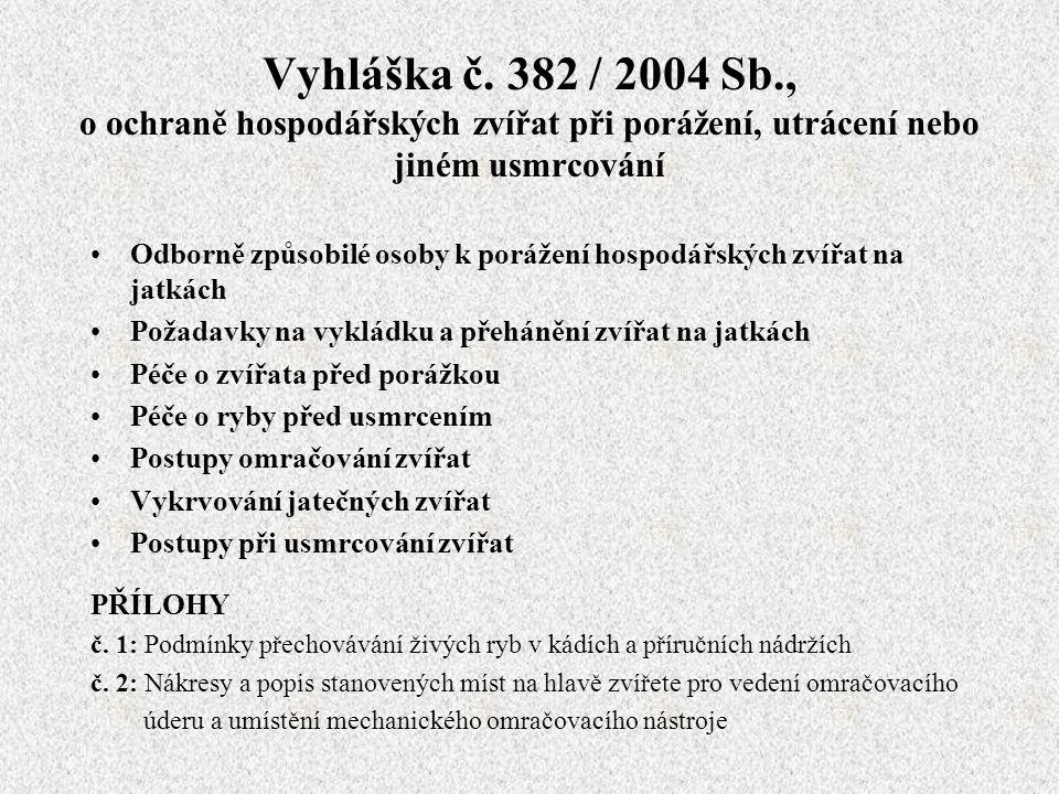 Vyhláška č. 382 / 2004 Sb., o ochraně hospodářských zvířat při porážení, utrácení nebo jiném usmrcování Odborně způsobilé osoby k porážení hospodářský