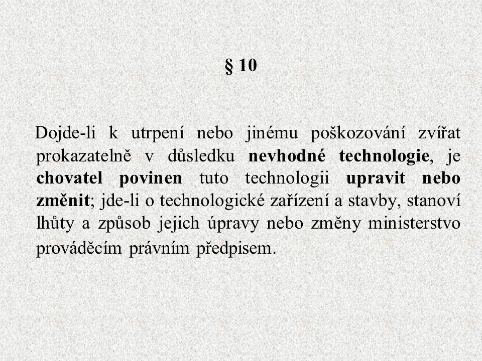 § 10 Dojde-li k utrpení nebo jinému poškozování zvířat prokazatelně v důsledku nevhodné technologie, je chovatel povinen tuto technologii upravit nebo