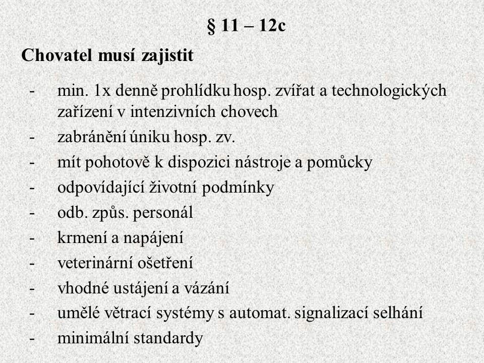 § 11 – 12c -min. 1x denně prohlídku hosp. zvířat a technologických zařízení v intenzivních chovech -zabránění úniku hosp. zv. -mít pohotově k dispozic