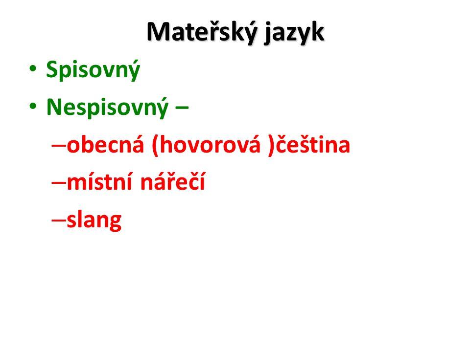 Mateřský jazyk Spisovný Nespisovný – – obecná (hovorová )čeština – místní nářečí – slang