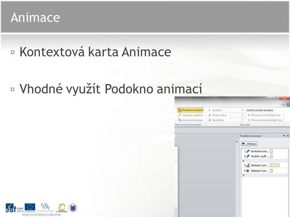▫K▫Kontextová karta Animace ▫V▫Vhodné využít Podokno animací Animace