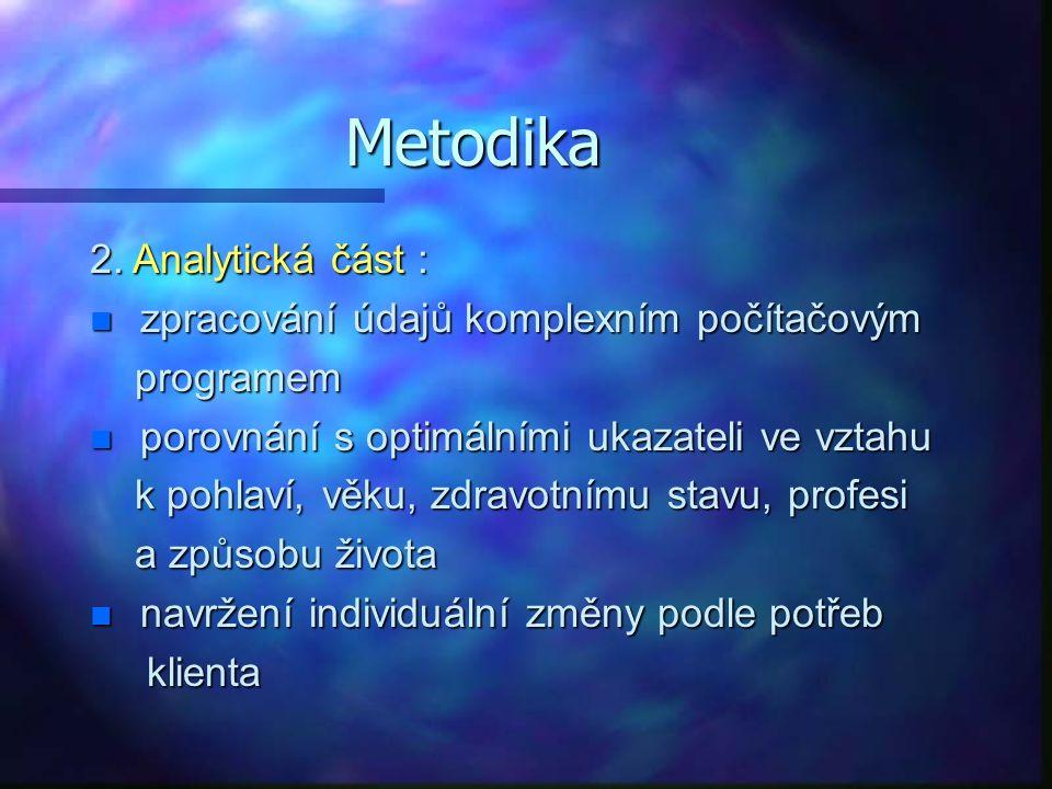 Metodika Zásady podávání informací klientovi: n motivace, nezbytné vysvětlit výhody doporučených změn ( zdravotní, estetické, společenské, finanční) doporučených změn ( zdravotní, estetické, společenské, finanční) změny musí být postupné a systematické změny musí být postupné a systematické