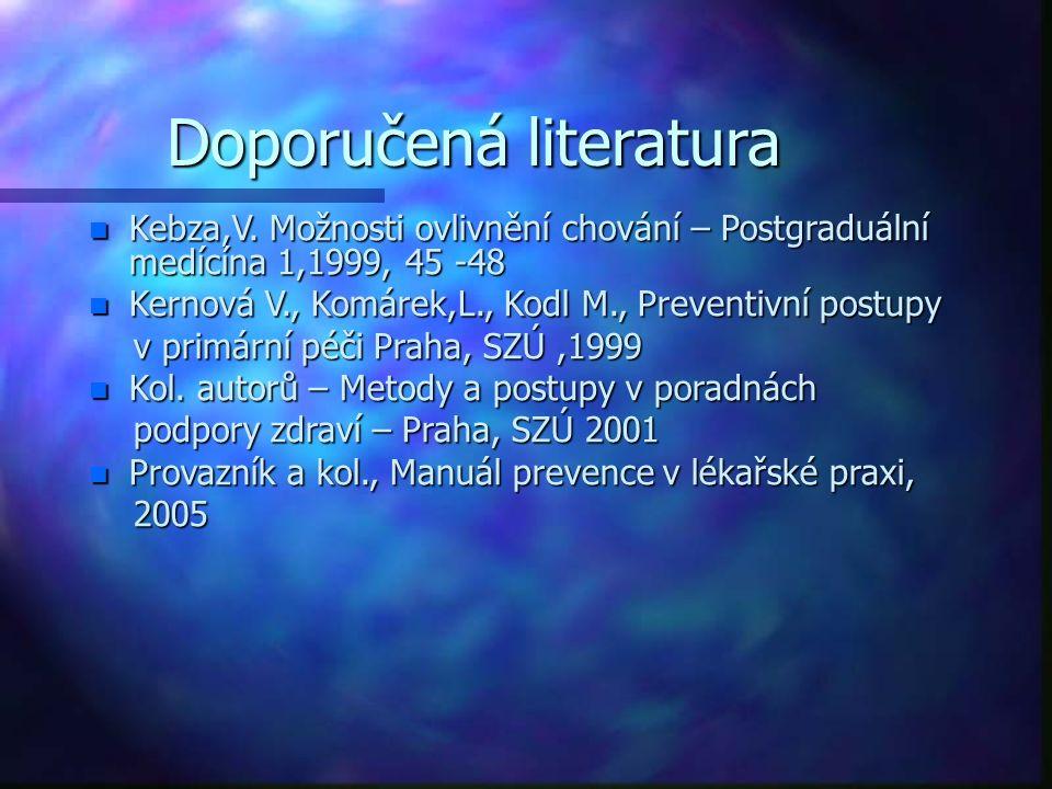 odkazy n Podpora zdraví - http://www.szu.cz/tema/podpora- zdravi http://www.szu.cz/tema/podpora- zdravihttp://www.szu.cz/tema/podpora- zdravi n Kurz Podpora zdraví - Program akreditovaného vzdělávacího kurzu pro nelékařská zdravotnická povolání dle zákona č.