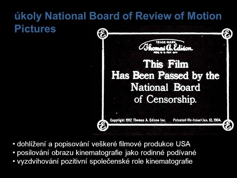 úkoly National Board of Review of Motion Pictures dohlížení a popisování veškeré filmové produkce USA posilování obrazu kinematografie jako rodinné po