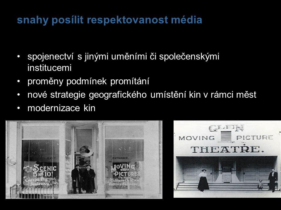 snahy posílit respektovanost média spojenectví s jinými uměními či společenskými institucemi proměny podmínek promítání nové strategie geografického u