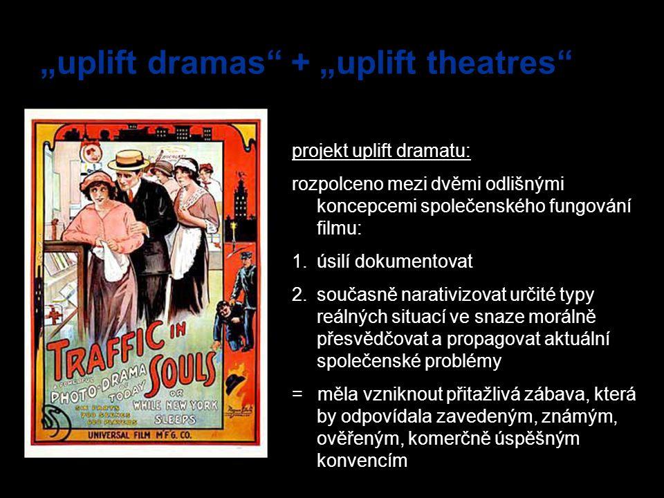"""""""uplift dramas"""" + """"uplift theatres"""" projekt uplift dramatu: rozpolceno mezi dvěmi odlišnými koncepcemi společenského fungování filmu: 1.úsilí dokument"""