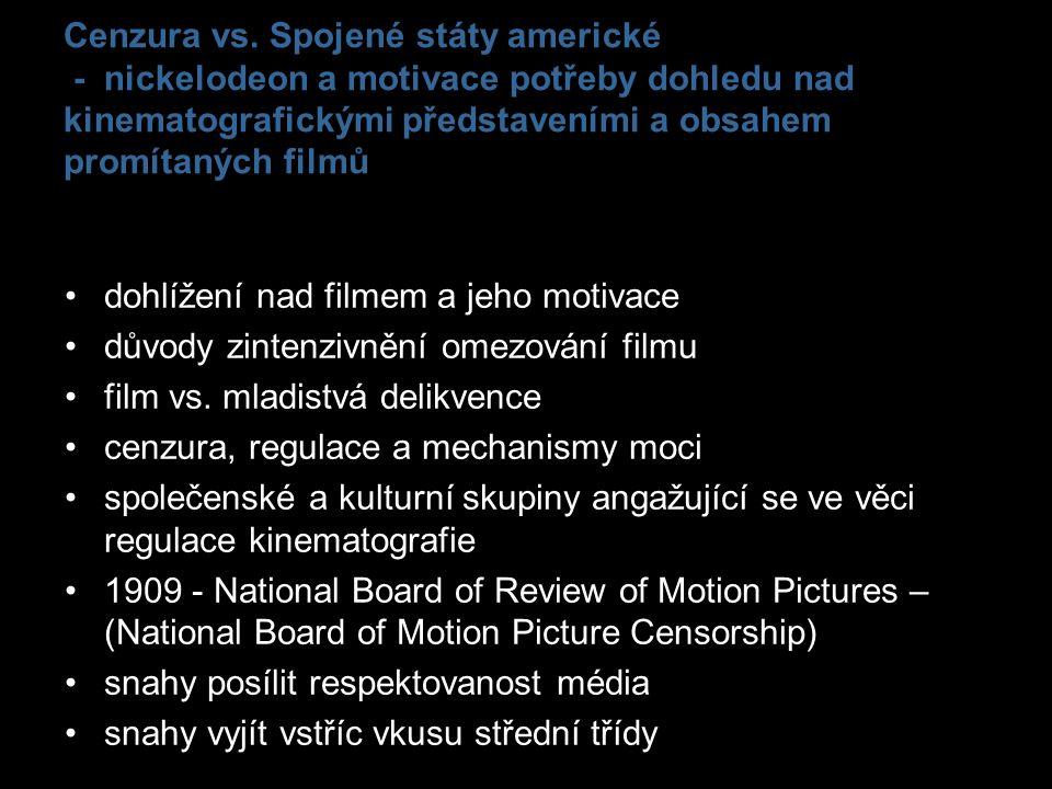 Cenzura vs. Spojené státy americké - nickelodeon a motivace potřeby dohledu nad kinematografickými představeními a obsahem promítaných filmů dohlížení