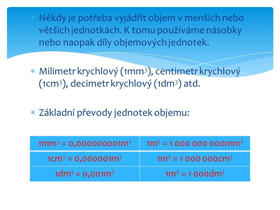  V praxi nejčastěji měříme objem kapalin.Tento objem měříme většinou na litry a mililitry.