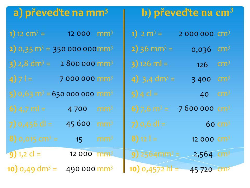 1) 78 cm 3 = dm 3 2) 1,6 m 3 = dm 3 3) 457000 mm 3 = dm 3 4) 3,6 l = dm 3 5) 7,1 m 3 = dm 3 6) 458 cm 3 = dm 3 7) 96 cl = dm 3 8) 165 ml = dm 3 9) 658 cm 3 = dm 3 10) 4 hl = dm 3 0,078 1600 0,457 3,6 7100 0,458 0,96 0,165 0,658 400 1) 623 dm 3 = m 3 2) 12 cm 3 = m 3 3) 45 l = m 3 4) 50 dm 3 = m 3 5) 896 cm 3 = m 3 6) 5 dm 3 = m 3 7) 47 hl = m 3 8) 891 dl = m 3 9) 7410 cm 3 = m 3 10) 30 dm 3 = m 3 0,623 0,000012 0,045 0,05 0,000896 0,005 4,7 0,0891 0,00741 0,03 c) převeďte na dm 3 d) převeďte na m 3