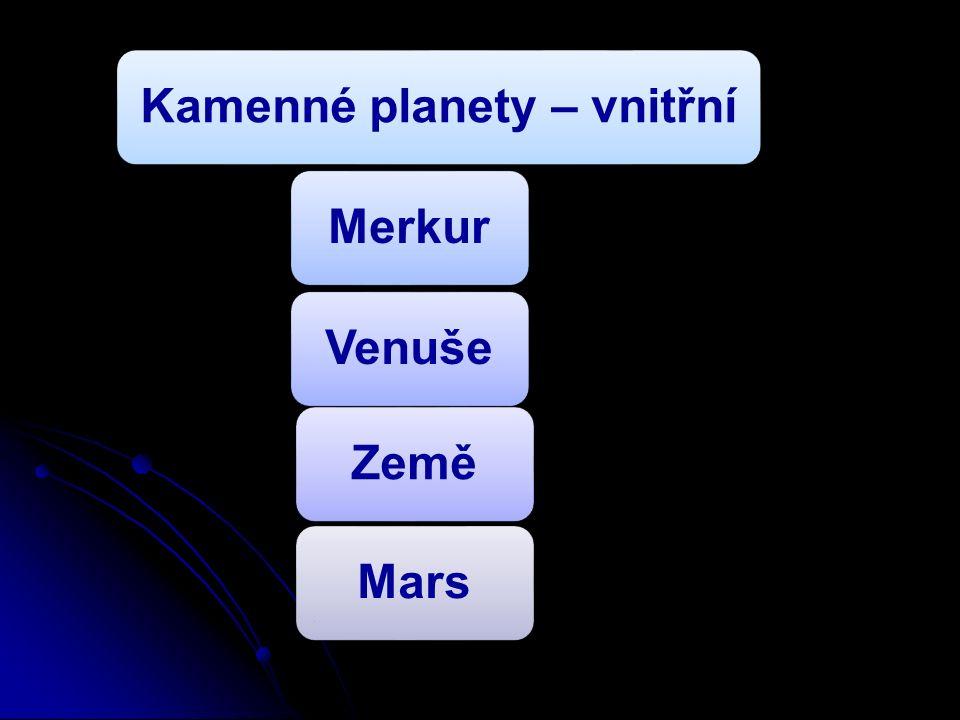 Kamenné planety – vnitřníMerkurVenušeZeměMars