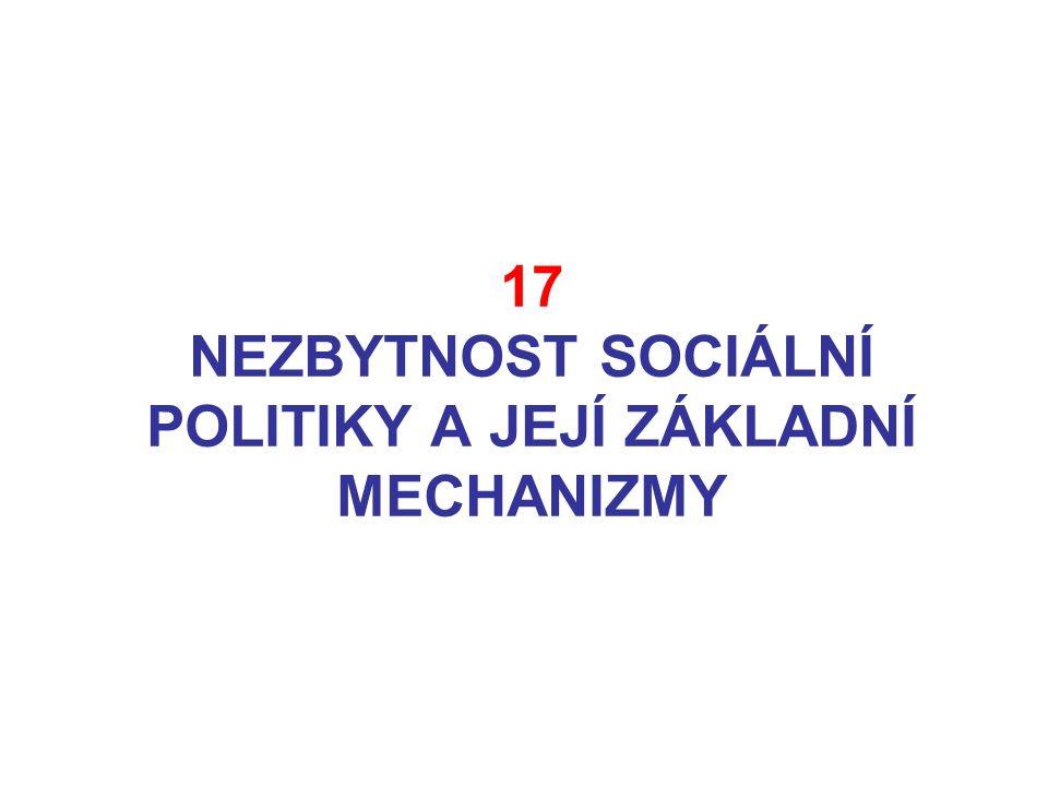 17 NEZBYTNOST SOCIÁLNÍ POLITIKY A JEJÍ ZÁKLADNÍ MECHANIZMY