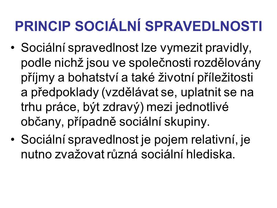 PRINCIP SOCIÁLNÍ SPRAVEDLNOSTI Sociální spravedlnost lze vymezit pravidly, podle nichž jsou ve společnosti rozdělovány příjmy a bohatství a také život