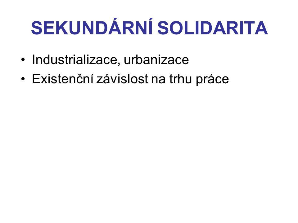 SEKUNDÁRNÍ SOLIDARITA Industrializace, urbanizace Existenční závislost na trhu práce