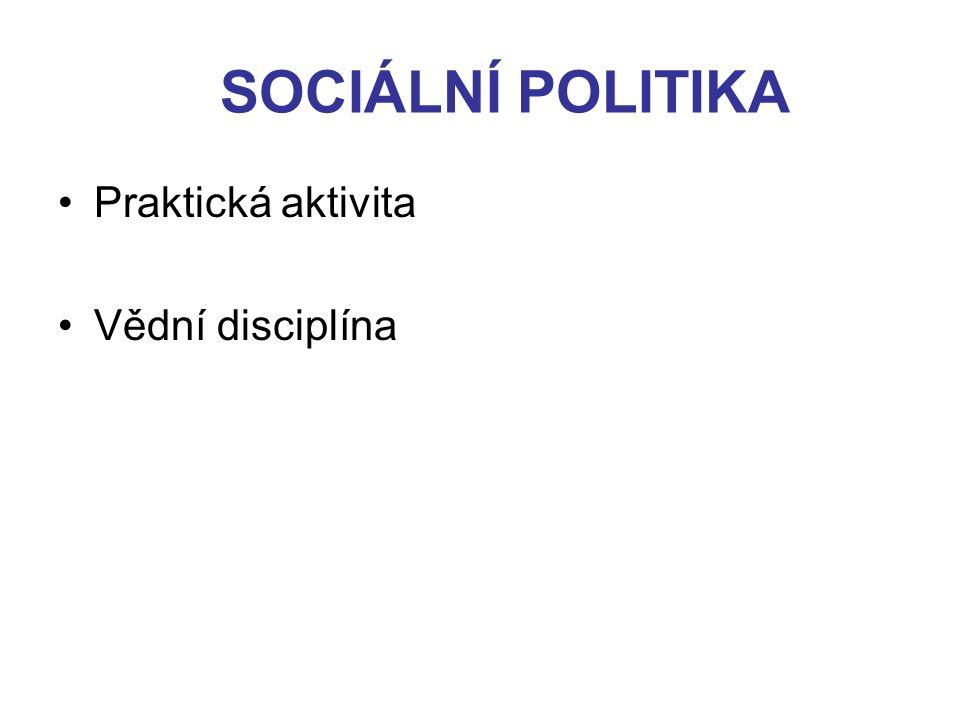 SOCIÁLNÍ POLITIKA Výraz sociální solidarity Sociální solidarita – předpoklad existence společnosti Solidarita v předprůmyslových společnostech –Vzájemnost (příslušnost ke skupinám rodinným, příbuzenským, sousedským, cechovním, církevním, obecním) Solidarita v moderních společnostech –Sociální zabezpečení a pomoc (státní sociální politika)