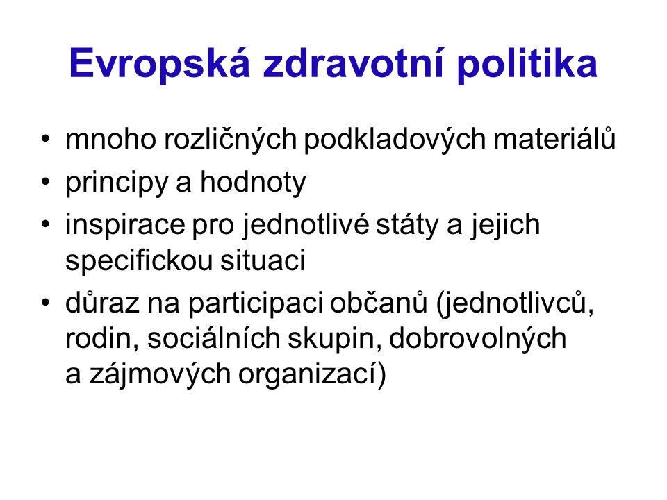 Evropská zdravotní politika mnoho rozličných podkladových materiálů principy a hodnoty inspirace pro jednotlivé státy a jejich specifickou situaci důr