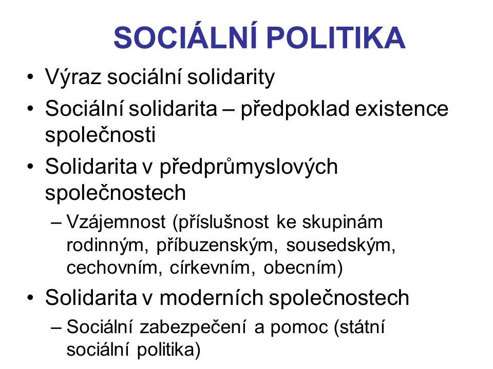 SOCIÁLNÍ POLITIKA Výraz sociální solidarity Sociální solidarita – předpoklad existence společnosti Solidarita v předprůmyslových společnostech –Vzájem
