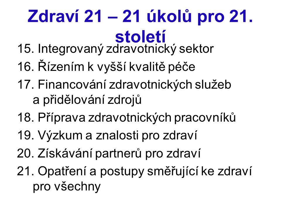 Zdraví 21 – 21 úkolů pro 21. století 15. Integrovaný zdravotnický sektor 16. Řízením k vyšší kvalitě péče 17. Financování zdravotnických služeb a přid