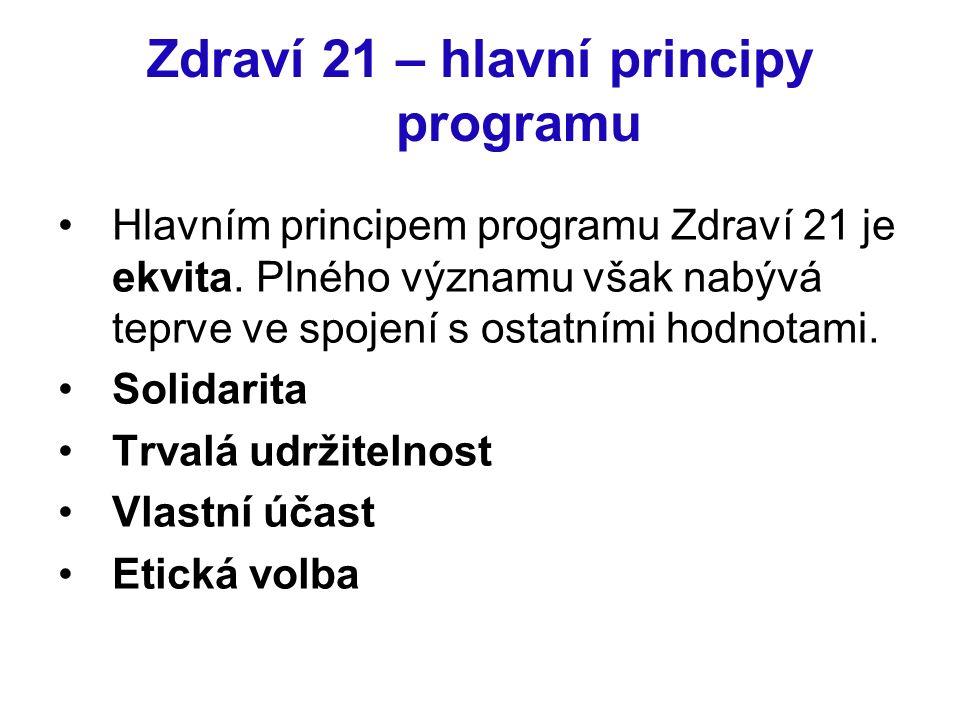 Zdraví 21 – hlavní principy programu Hlavním principem programu Zdraví 21 je ekvita. Plného významu však nabývá teprve ve spojení s ostatními hodnotam