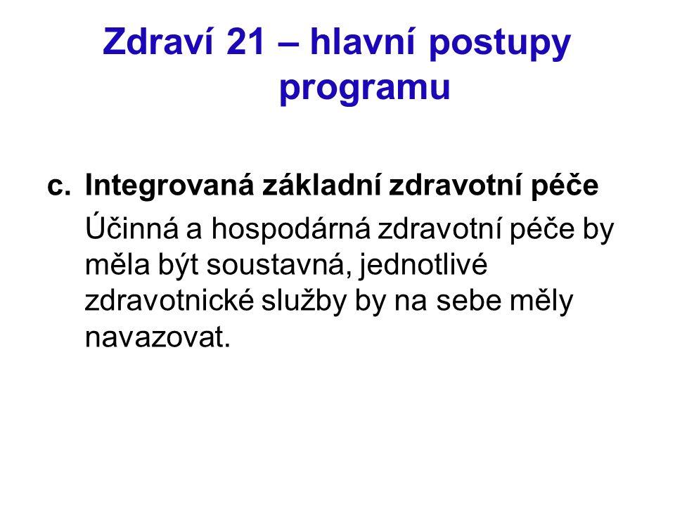 Zdraví 21 – hlavní postupy programu c.Integrovaná základní zdravotní péče Účinná a hospodárná zdravotní péče by měla být soustavná, jednotlivé zdravot