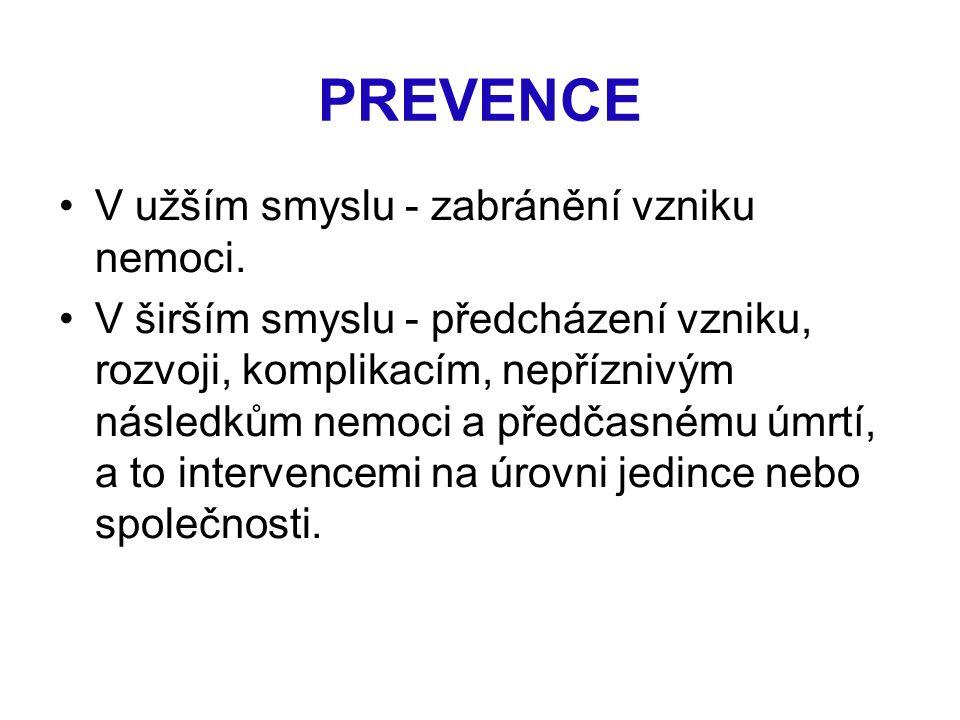 PREVENCE V užším smyslu - zabránění vzniku nemoci. V širším smyslu - předcházení vzniku, rozvoji, komplikacím, nepříznivým následkům nemoci a předčasn