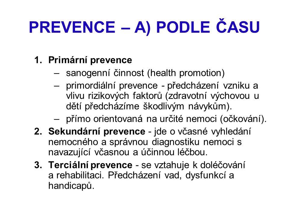 PREVENCE – A) PODLE ČASU 1.Primární prevence –sanogenní činnost (health promotion) –primordiální prevence - předcházení vzniku a vlivu rizikových fakt