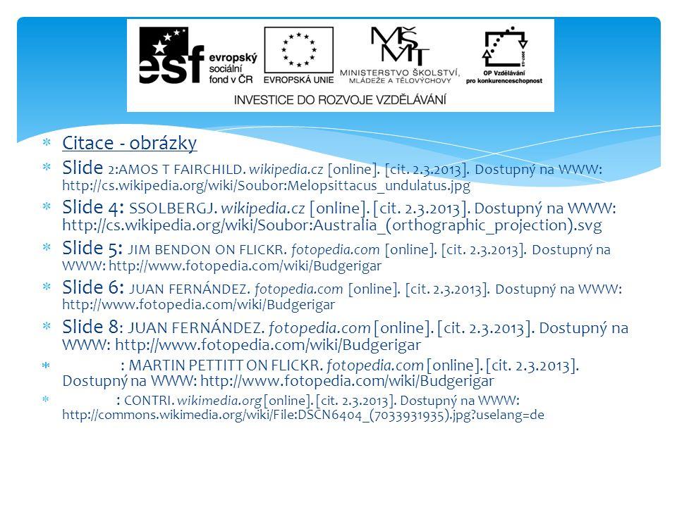  Citace - obrázky  Slide 2:AMOS T FAIRCHILD. wikipedia.cz [online]. [cit. 2.3.2013]. Dostupný na WWW: http://cs.wikipedia.org/wiki/Soubor:Melopsitta