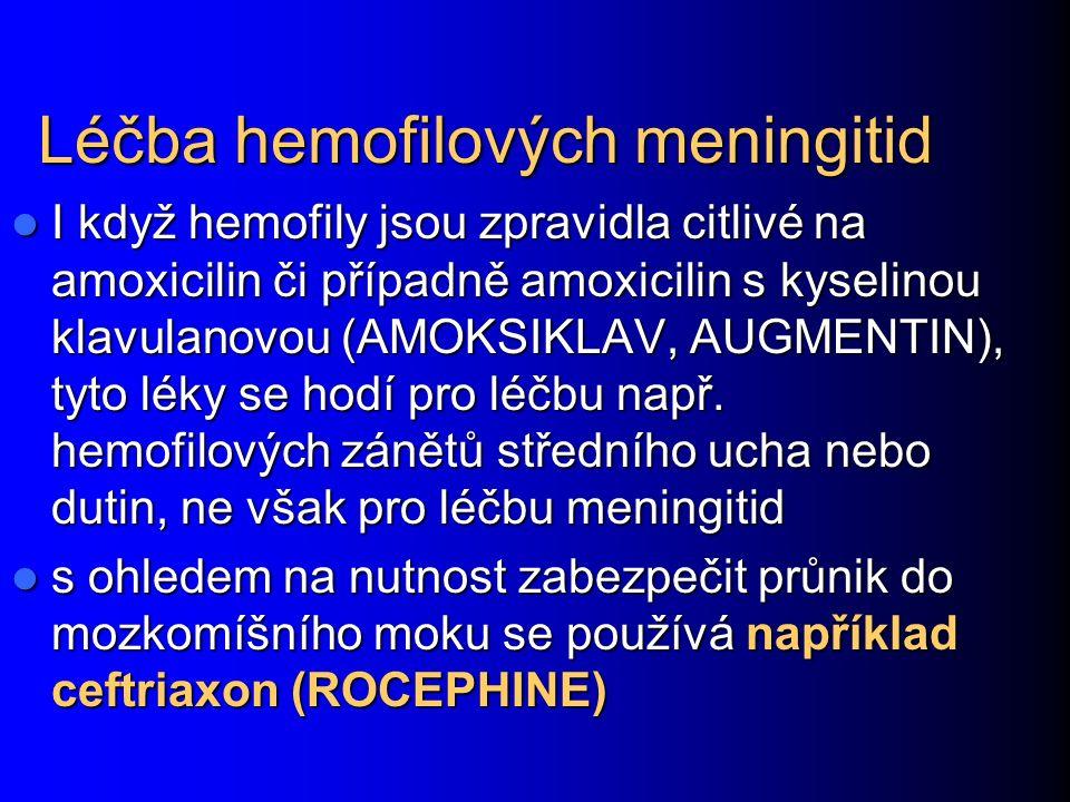 Léčba hemofilových meningitid I když hemofily jsou zpravidla citlivé na amoxicilin či případně amoxicilin s kyselinou klavulanovou (AMOKSIKLAV, AUGMENTIN), tyto léky se hodí pro léčbu např.