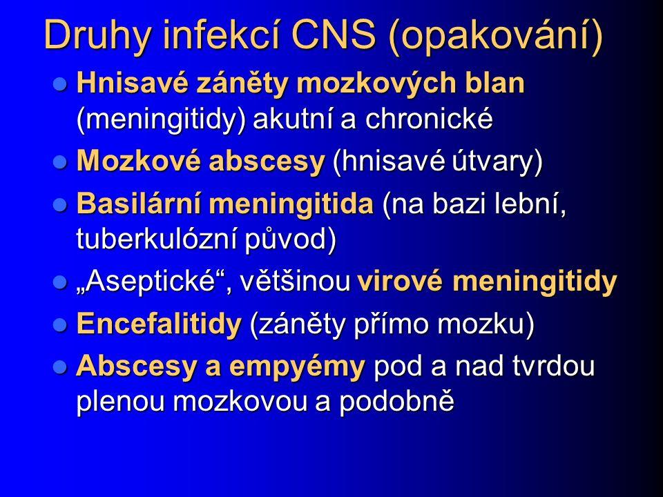 """Druhy infekcí CNS (opakování) Hnisavé záněty mozkových blan (meningitidy) akutní a chronické Hnisavé záněty mozkových blan (meningitidy) akutní a chronické Mozkové abscesy (hnisavé útvary) Mozkové abscesy (hnisavé útvary) Basilární meningitida (na bazi lební, tuberkulózní původ) Basilární meningitida (na bazi lební, tuberkulózní původ) """"Aseptické , většinou virové meningitidy """"Aseptické , většinou virové meningitidy Encefalitidy (záněty přímo mozku) Encefalitidy (záněty přímo mozku) Abscesy a empyémy pod a nad tvrdou plenou mozkovou a podobně Abscesy a empyémy pod a nad tvrdou plenou mozkovou a podobně"""