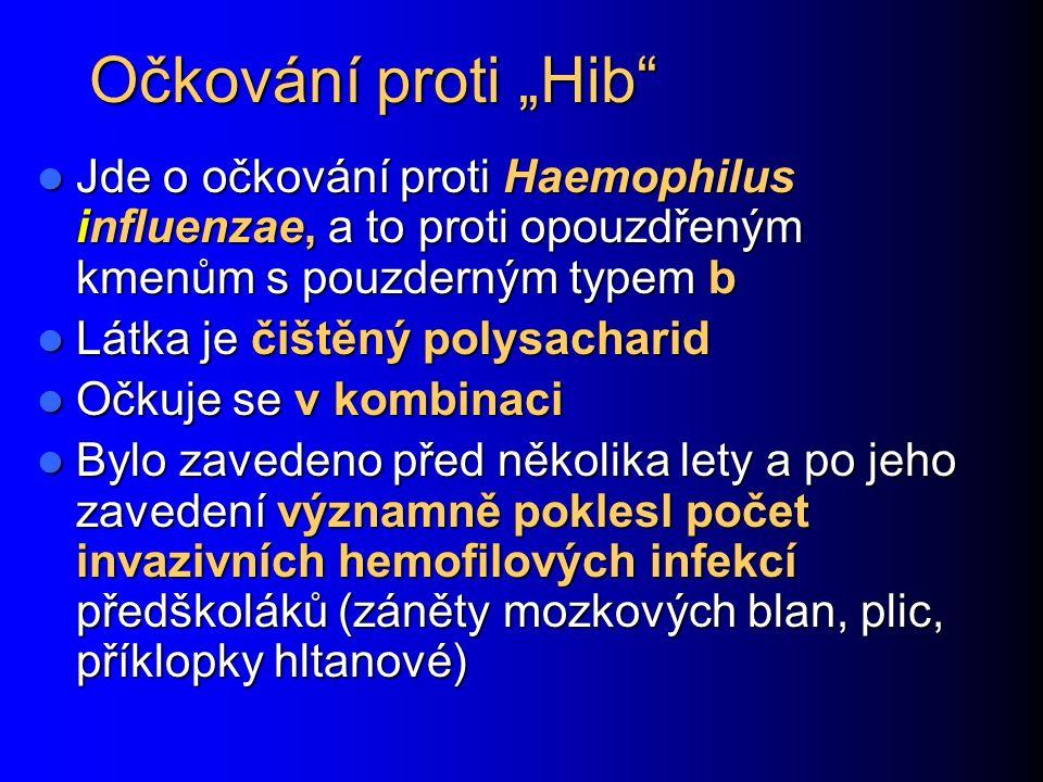 """Očkování proti """"Hib Jde o očkování proti Haemophilus influenzae, a to proti opouzdřeným kmenům s pouzderným typem b Jde o očkování proti Haemophilus influenzae, a to proti opouzdřeným kmenům s pouzderným typem b Látka je čištěný polysacharid Látka je čištěný polysacharid Očkuje se v kombinaci Očkuje se v kombinaci Bylo zavedeno před několika lety a po jeho zavedení významně poklesl počet invazivních hemofilových infekcí předškoláků (záněty mozkových blan, plic, příklopky hltanové) Bylo zavedeno před několika lety a po jeho zavedení významně poklesl počet invazivních hemofilových infekcí předškoláků (záněty mozkových blan, plic, příklopky hltanové)"""