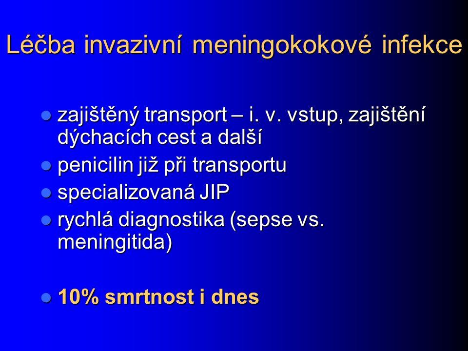 Léčba invazivní meningokokové infekce zajištěný transport – i.