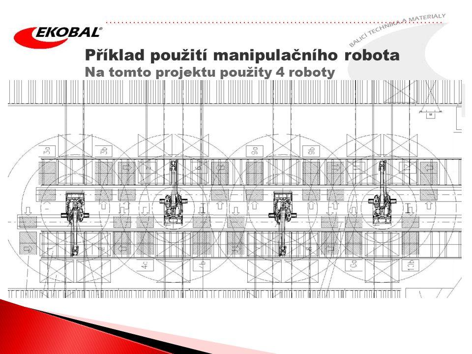 Příklad použití manipulačního robota Na tomto projektu použity 4 roboty